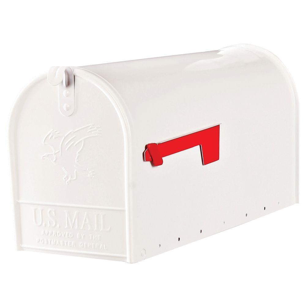 Elite Large Premium Steel Post-Mount Mailbox in White