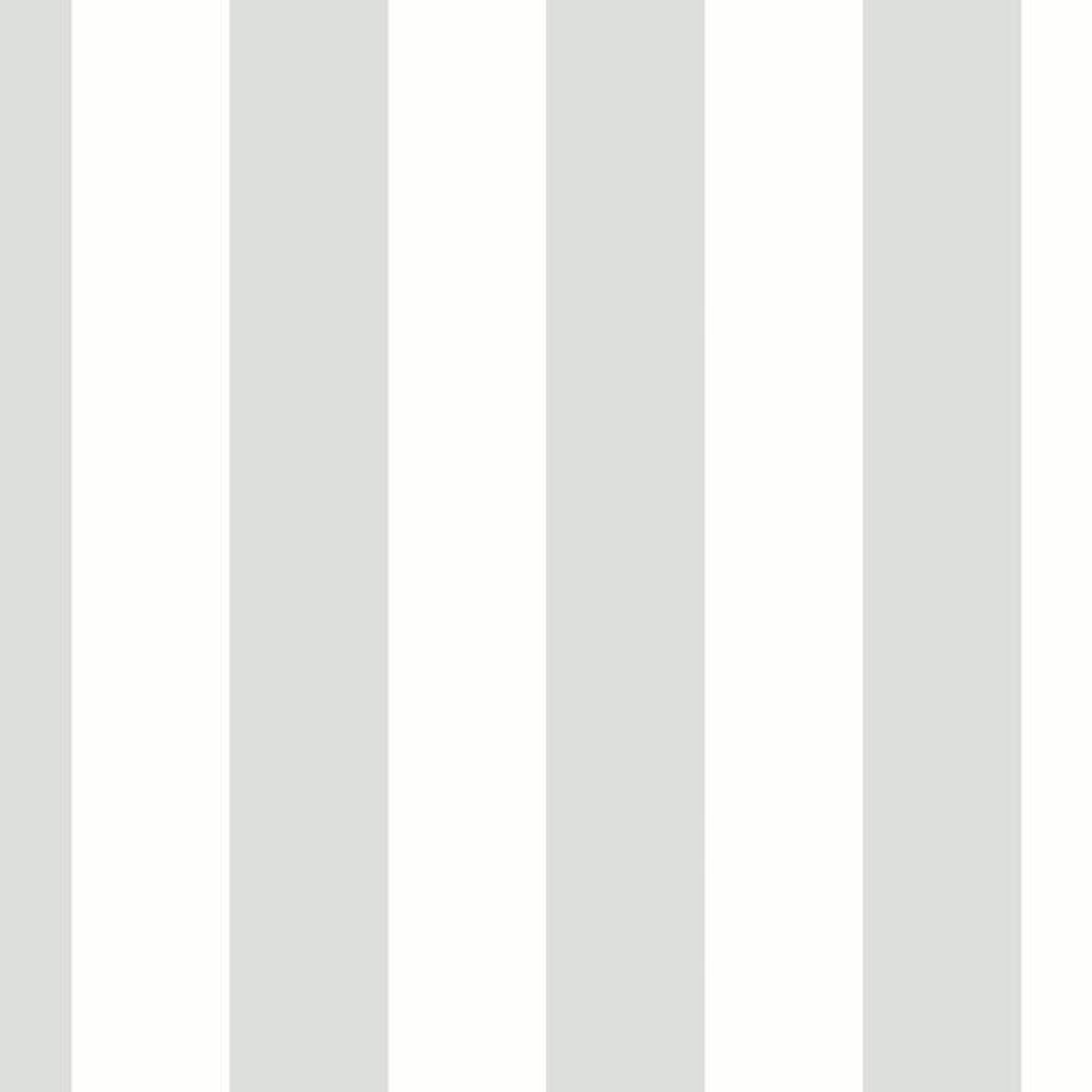 2.5 in. Tent Stripe-White & Silver Vinyl Peelable Roll Wallpaper (Covers 56 sq. ft.)