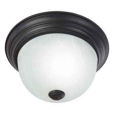 Flush Mount Lighting Series 1-Light Venetian Bronze Flush Mount with White Alabaster Glass Shade