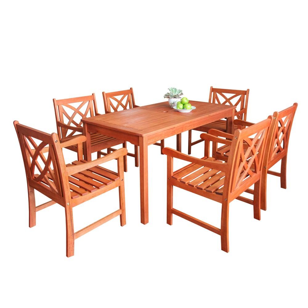 Vifah Wood Outdoor Dining Set 7-Piece