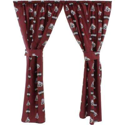 42 in. W x 63 in. L Mississippi State Bulldogs Cotton With Tie Back Curtain in Red   (2 Panels)
