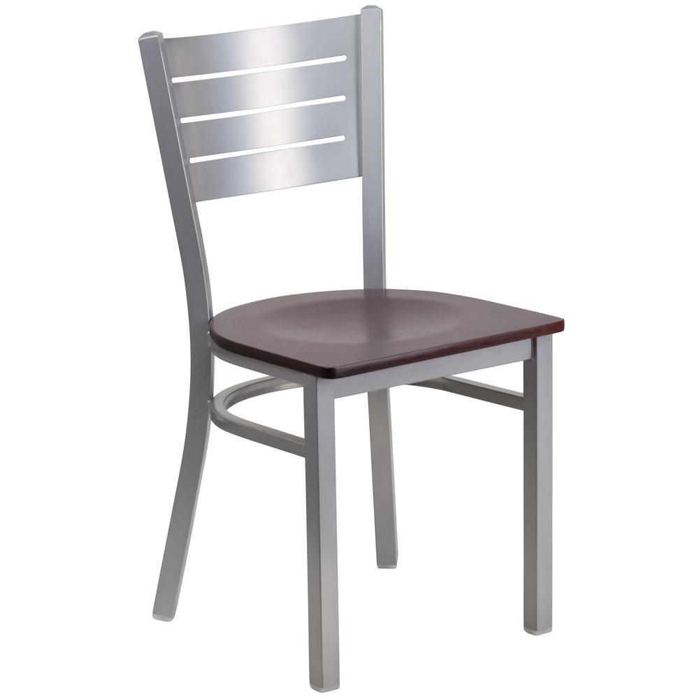 Hercules Mahogany Wood Seat/Silver Frame Side Chair