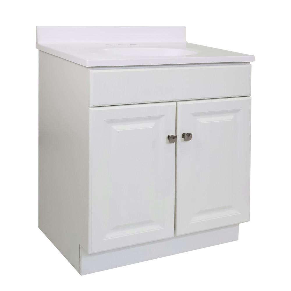 30 in. x 21 in. x 31.5 in. 2-Door Bath Vanity in White w/ Solid White Single Hole Cultured Marble Vanity Top w/ Basin