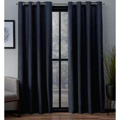 London 52 in. W x 63 in. L Woven Blackout Grommet Top Curtain Panel in Peacoat Blue (2 Panels)