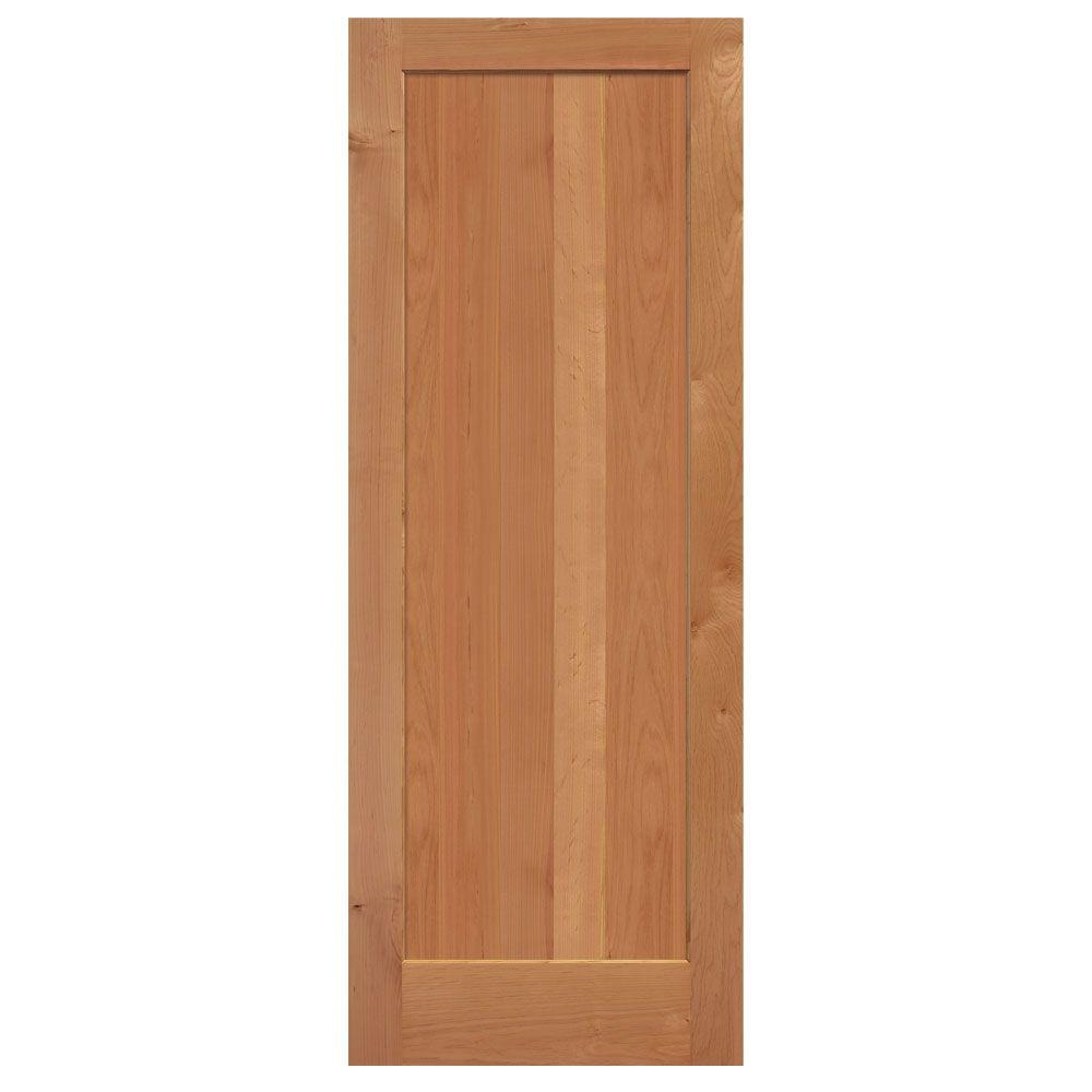 Masonite 30 in x 84 in knotty alder 1 panel shaker flat solid wood interior barn door slab for Solid wood panel interior doors