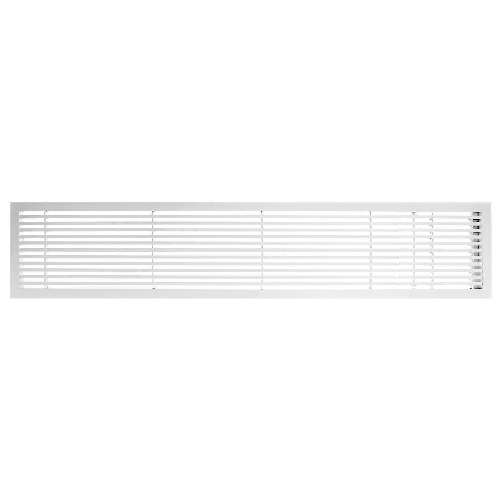 Architectural Grille AG20 Series 6 in. x 24 in. Solid Aluminum Fixed Bar Supply/Return Air Vent Grille, White-Gloss with Right Door