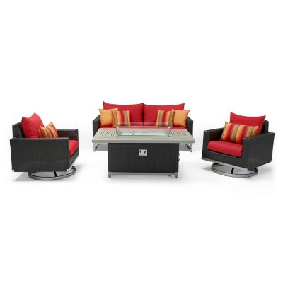 Milo Espresso 4-Piece Wicker Patio Motion Fire Pit Deep Seating Set with Sunset Red Cushions
