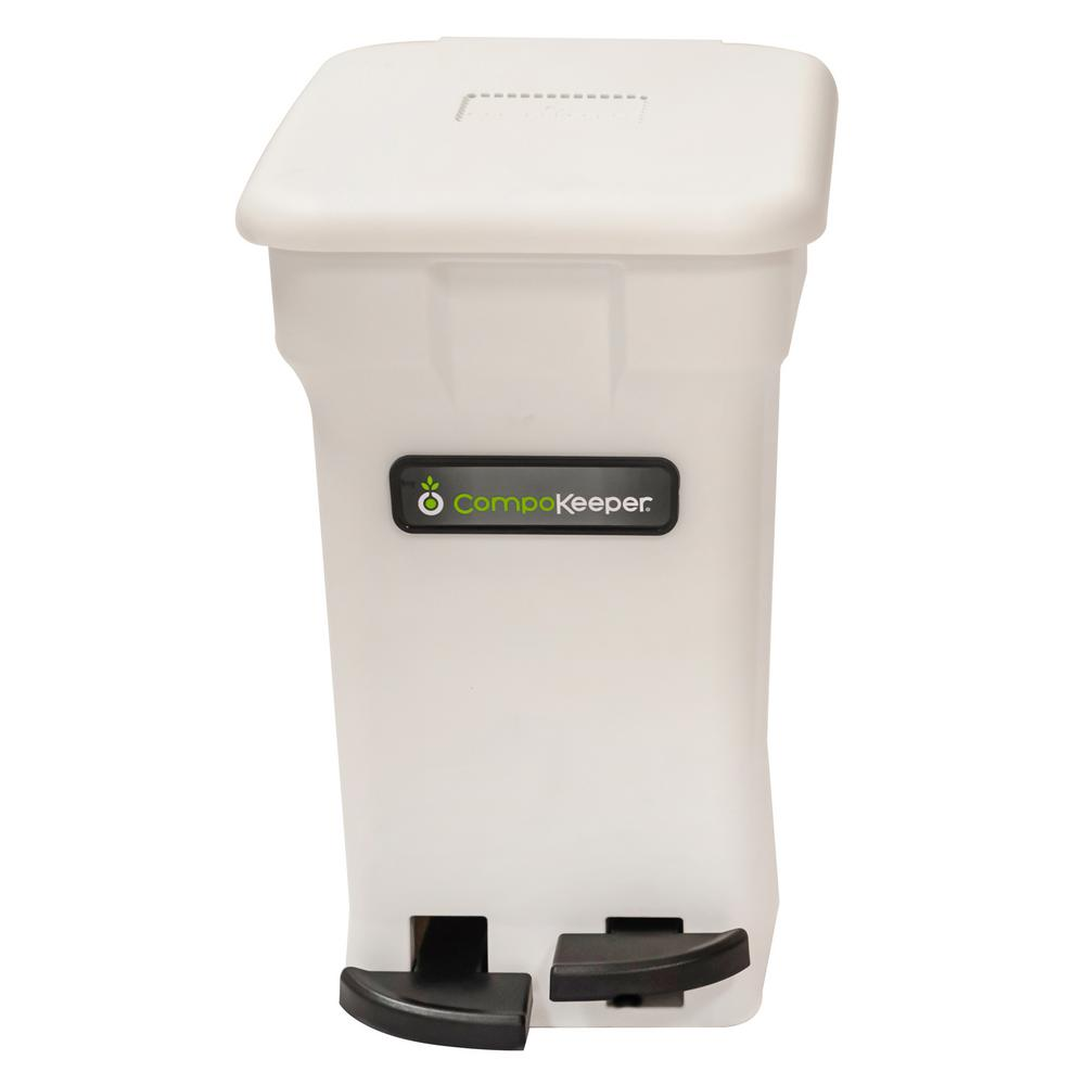 6 Gal. White Hands Free Indoor Compost Bin