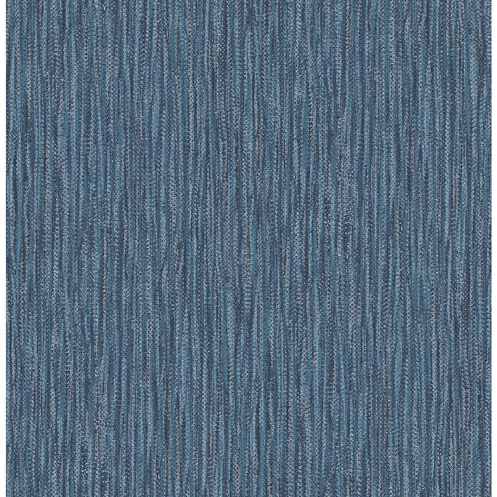 A-Street 56.4 sq. ft. Raffia Thames Blue Faux Grasscloth Wallpaper 2901-25423