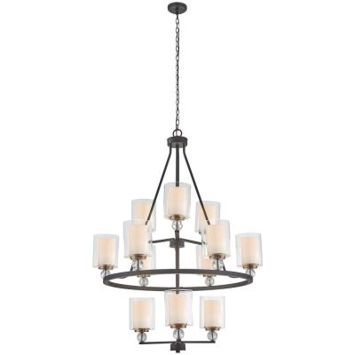 Studio 5 12-Light Painted Bronze with Natural Brushed Brass Highlights Chandelier with Clear Glass Shade