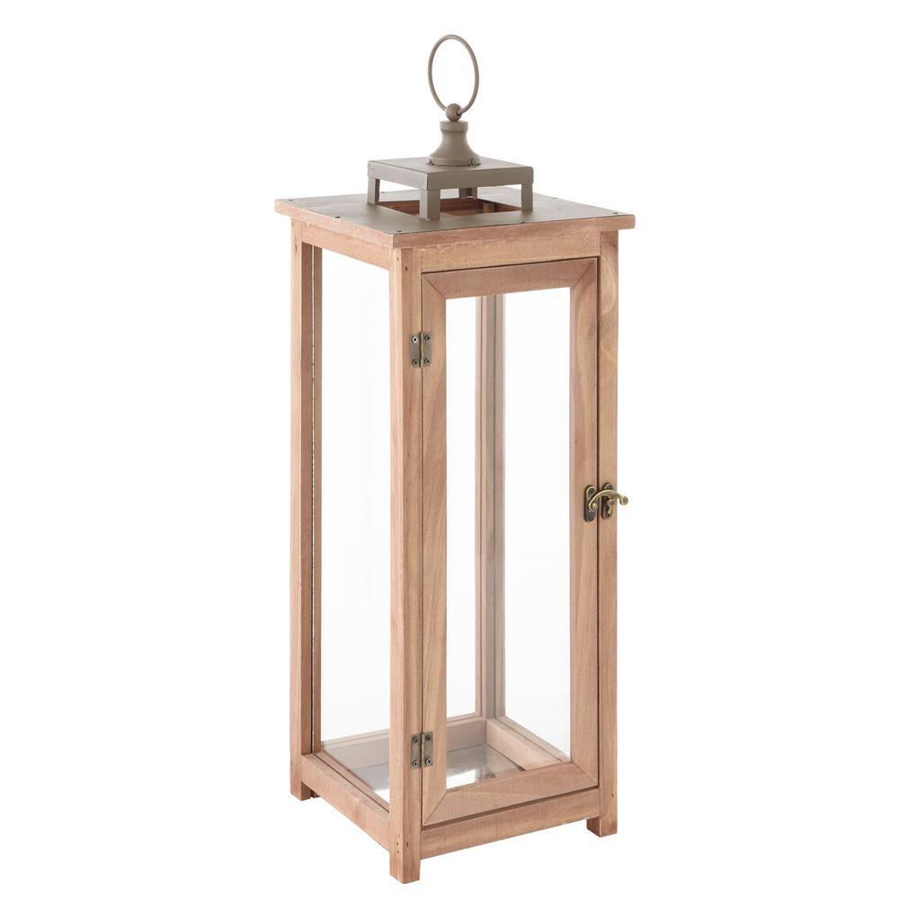 22 in. Rustic Wood Outdoor Patio Lantern with Metal Top
