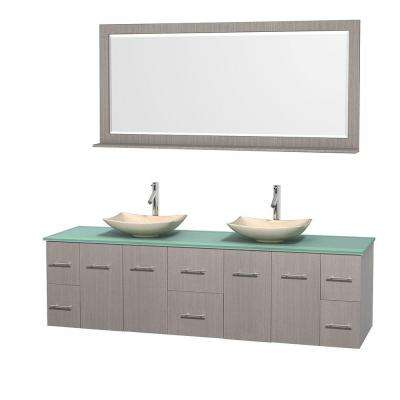 Centra 80 in. Double Vanity in Gray Oak with Glass Vanity Top in Green, Ivory Marble Sinks and 70 in. Mirror