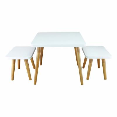 White and Maple 3-Piece Easel Kids Table and Chair Set
