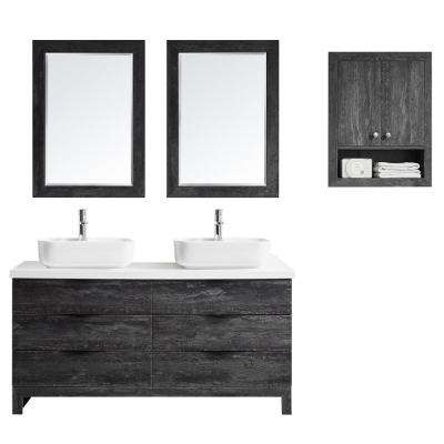 Spencer 60 in. W x 20 in. D Bath Vanity in Grey with Quartz Vanity Top in White with White Basins and Mirrors