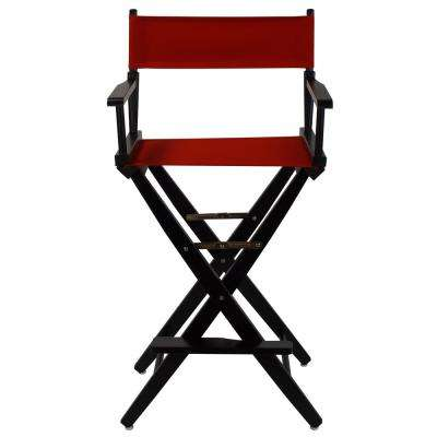 30 in. Extra-Wide Black Wood Frame/Red Canvas Seat Folding Directors Chair