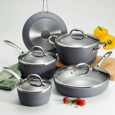 Gourmet 9-Piece Slate Gray Induction Aluminum Cookware Set