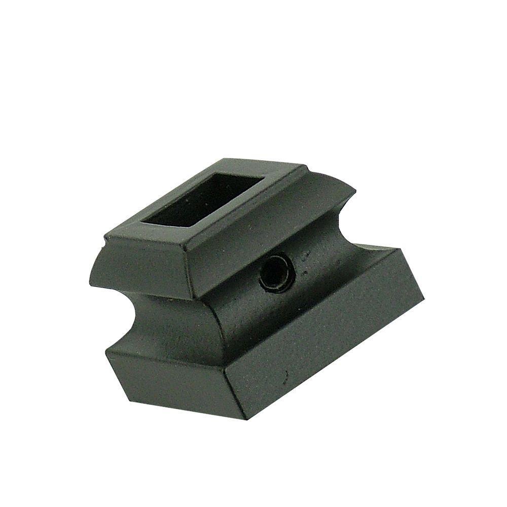 null 0.5 in. Satin Black Flat Metal Baluster Shoe