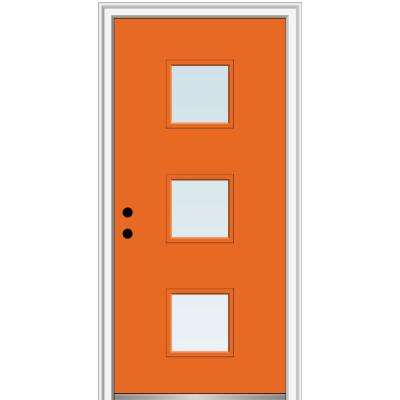 32 in. x 80 in. Aveline Low-E Right-Hand Inswing 3-Lite Clear Painted Steel Prehung Front Door on 6-9/16 in. Frame