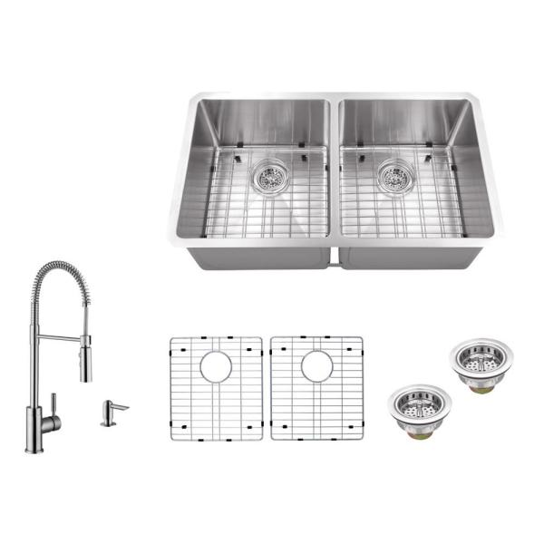 Undermount 32 in. 16-Gauge Stainless Steel Double Bowl Kitchen Sink in Brushed Stainless with Pull Out Kitchen Faucet