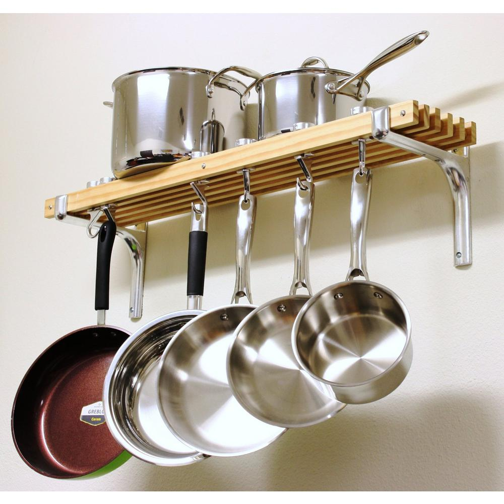 Cooks Standard 36 in. Wooden Wall Mounted Pot Rack NC-00267 ...
