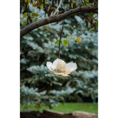 12 in. Wide White Finish Magnolia Bird Feeder