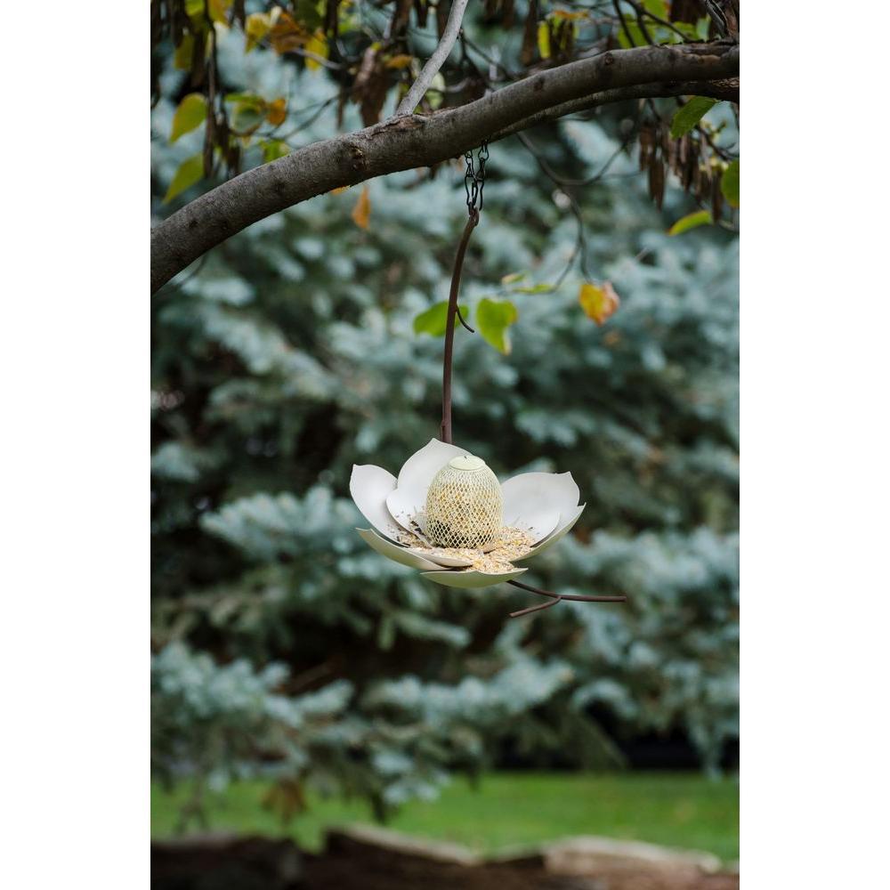 12 in. Wide White Finish Magnolia Bird Feeder