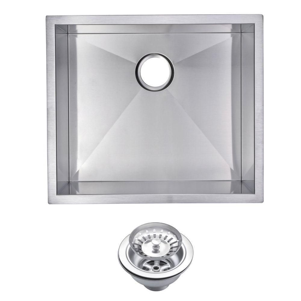 Undermount Zero Radius Stainless Steel 23.in 0-Hole Single Bowl Kitchen Sink with Strainer in Satin Finish