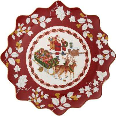 Toy's Fantasy 16.5 in. Large Pastry Plate Santa on Rooftop