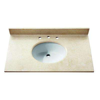 31 in. Marble Stone Vanity Top in Galala Beige without Basin