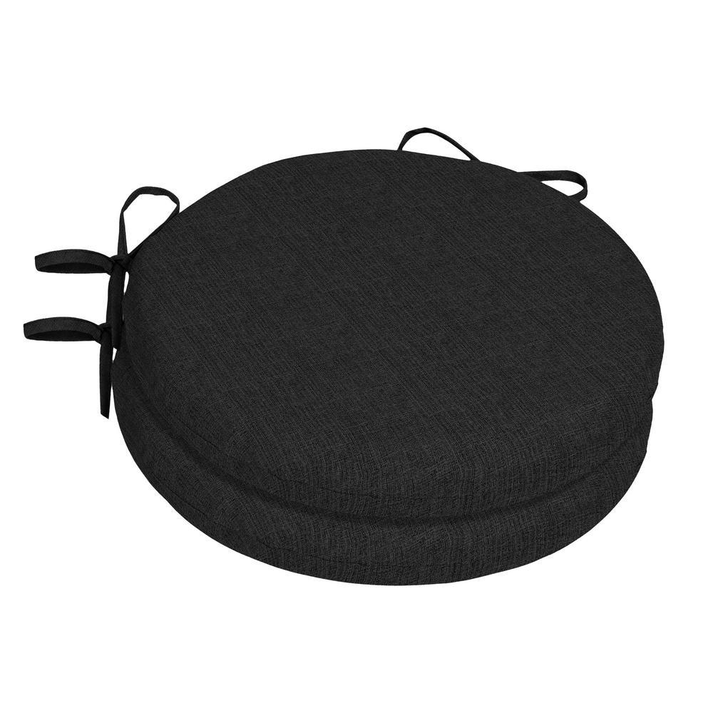 15 x 15 Sunbrella Canvas Black Round Outdoor Chair Cushion (2-Pack)