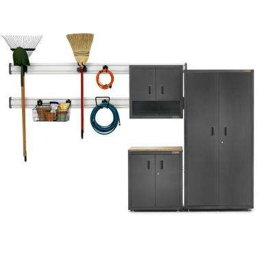 Ready-to-Assemble 72 in. H x 64 in. W x 18 in. D Steel Garage Cabinet Set in Hammered Granite (9-Piece)
