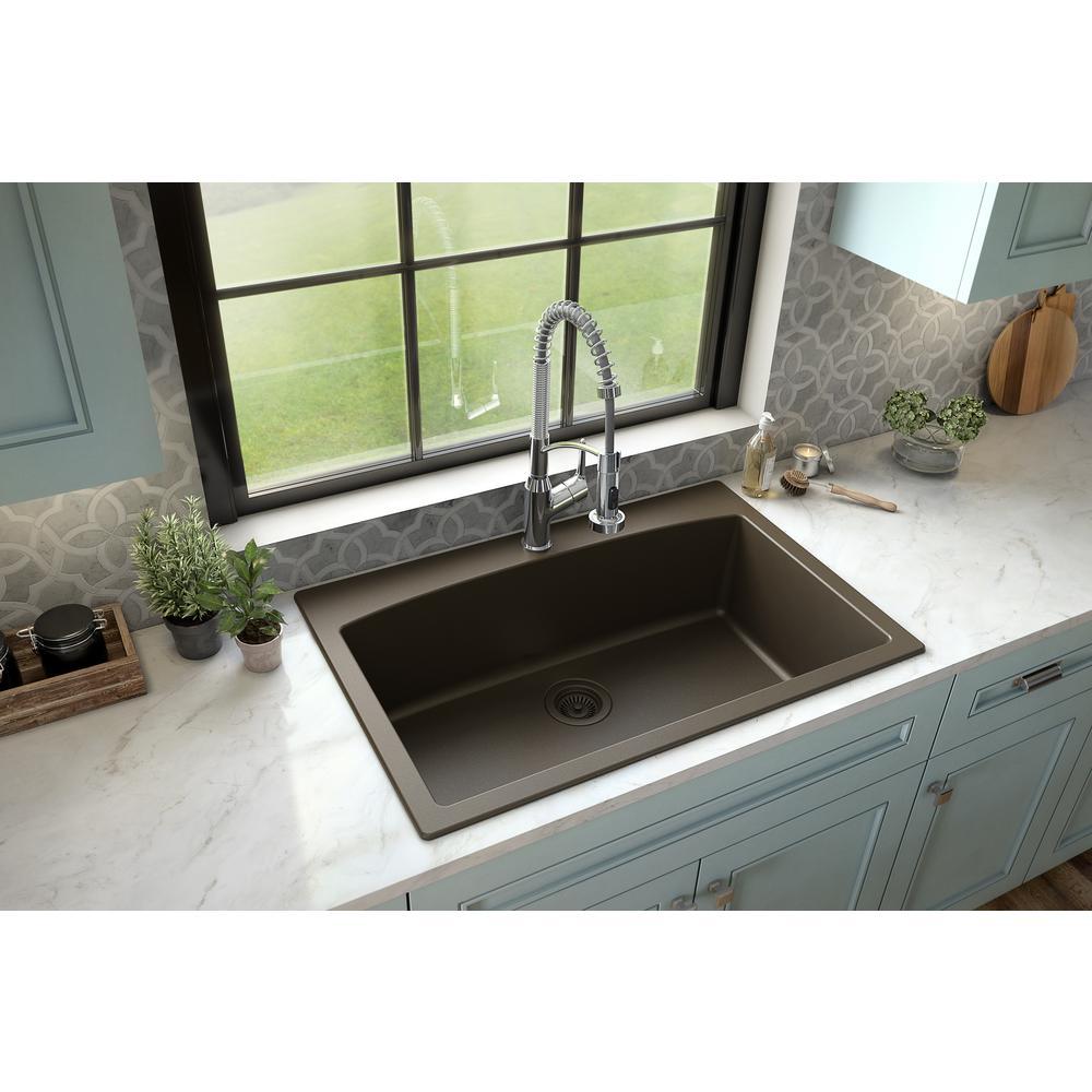 Drop-In Quartz Composite 33 in. 1-Hole Single Bowl Kitchen Sink in Brown