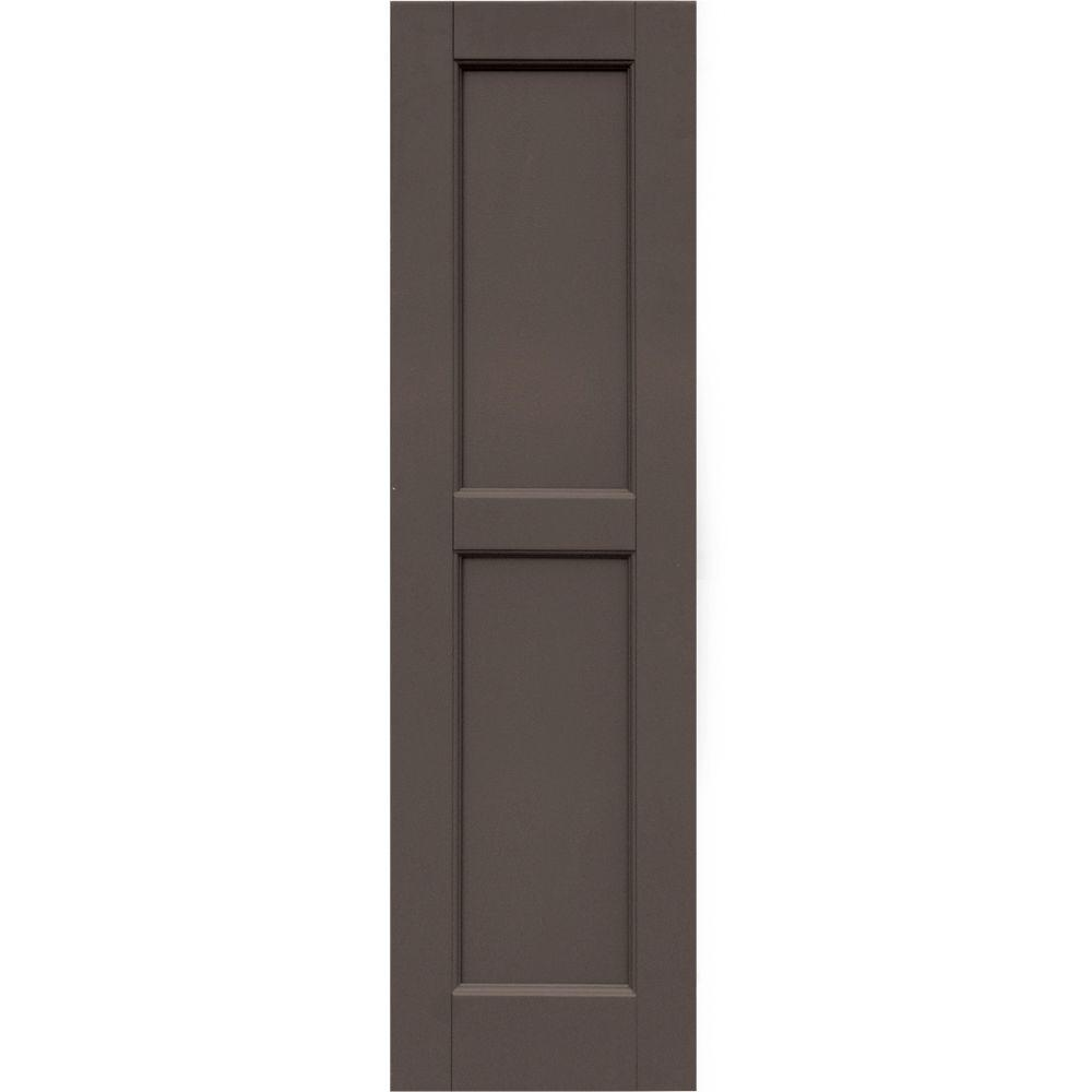 Winworks Wood Composite 12 in. x 43 in. Contemporary Flat Panel Shutters Pair #641 Walnut