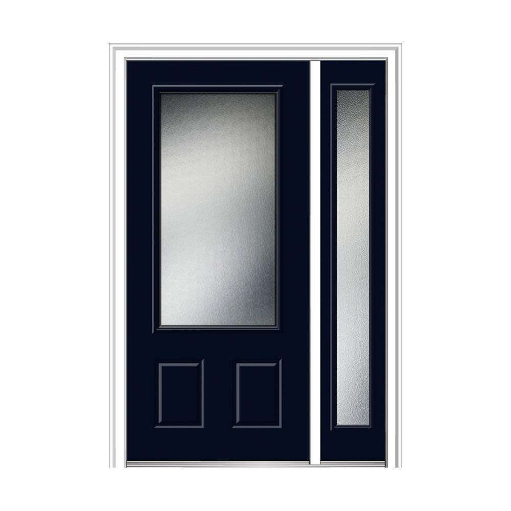 50 in. x 80 in. Micro Granite Left-Hand 3/4-Lite 2-Panel Classic Painted Fiberglass Prehung Front Door with Sidelite