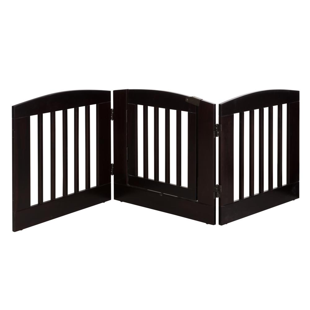 Ruffluv 24 in. H Wood 3-Panel Expansion Cappuccino Pet Ga...