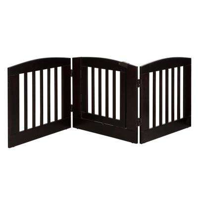 Ruffluv 24 in. H Wood 3-Panel Expansion Cappuccino Pet Gate with Door