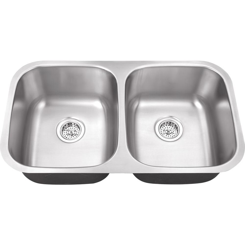 Belle Foret Undermount Stainless Steel 32 In 0 Hole Double Bowl Kitchen Sink Bfm208 The Home Depot