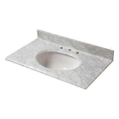 37 in. W Marble Vanity Top in Carrara with White Bowl and 8 in. Faucet Spread