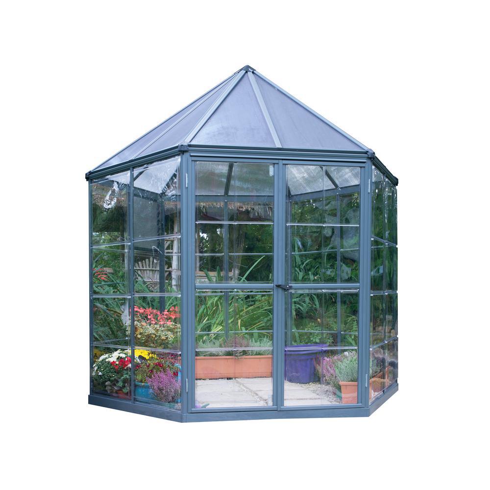 Palram 8 ft. x 7 ft. Oasis Hexagonal Greenhouse-704053 - The Home Depot