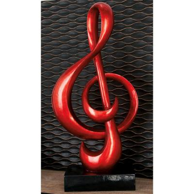 Abstract Polystone and Fiberglass Musical Treble Clef Symbol Sculpture