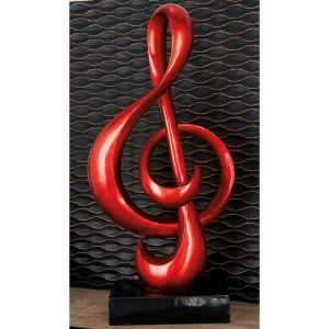 Abstract Polystone and Fiberglass Musical Treble Clef Symbol Sculpture by