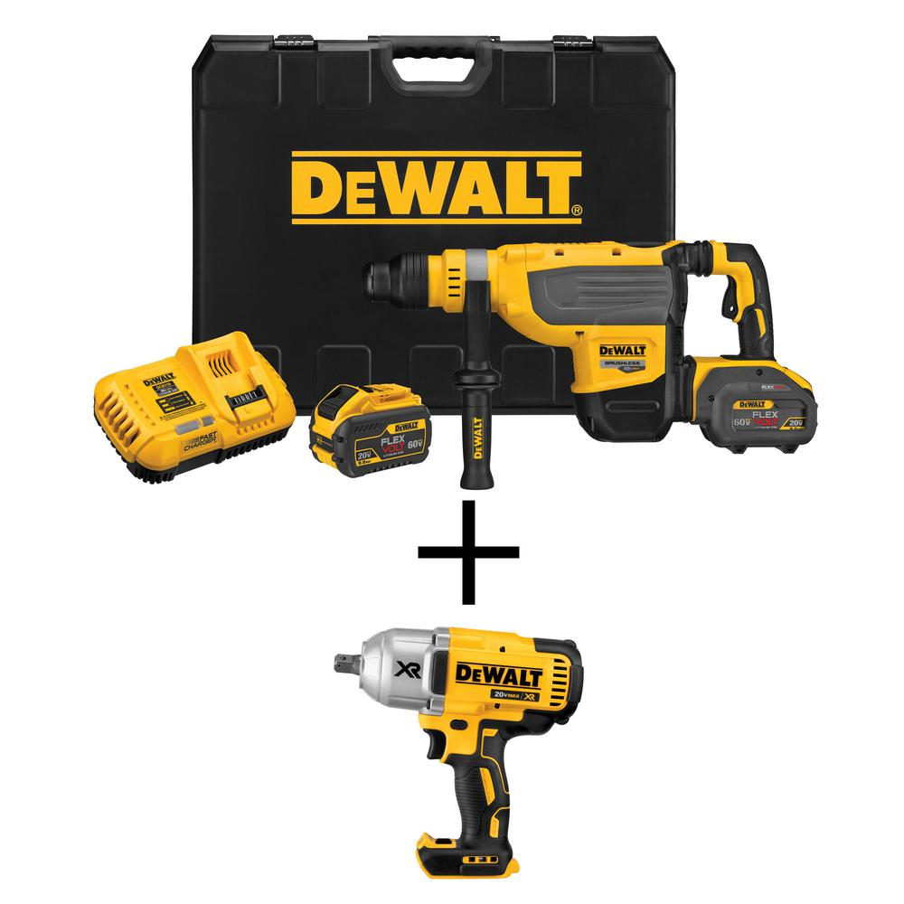 DEWALT FLEXVOLT 1-7/8 in. 60-Volt MAX Lithium-Ion Brushless Cordless SDS Rotary Hammer Kit with Free Impact Wrench