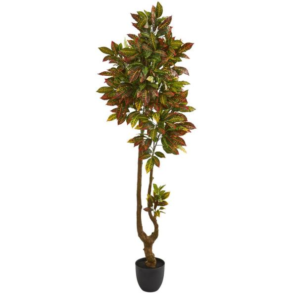 Nearly Natural Indoor 6 in. Croton Artificial Tree