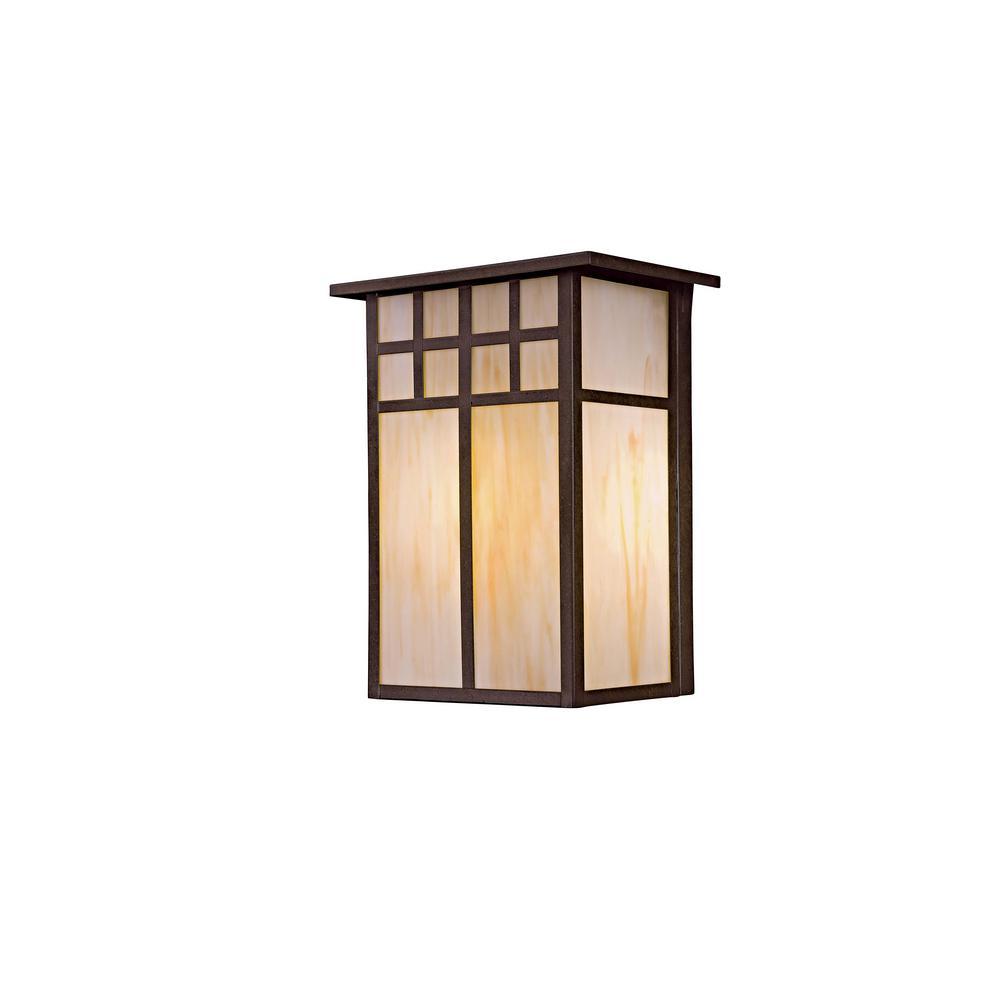 Scottsdale II 1-Light Textured French Bronze Outdoor Wall Mount Pocket Lantern