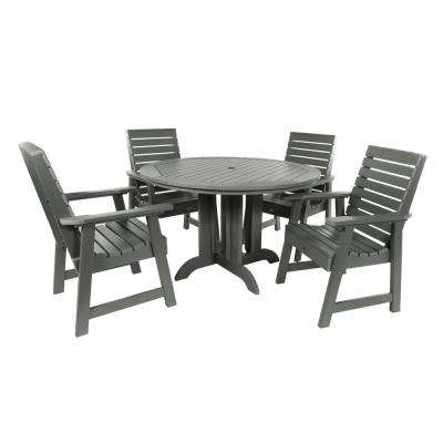 Weatherly Coastal Teak 5-Piece Recycled Plastic Round Outdoor Dining Set