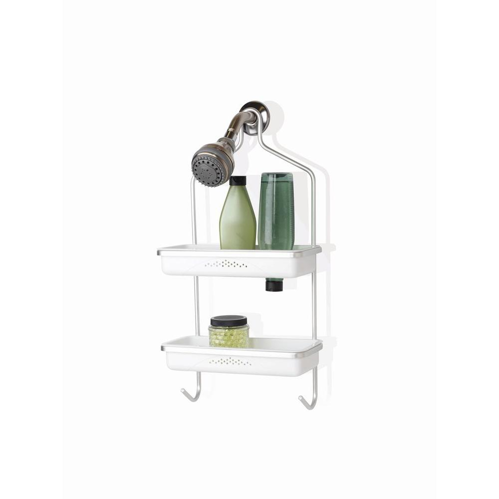 Zenna Home Aluminum Shower Caddy with Plastic Inserts in Satin Chrome