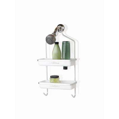 Aluminum Shower Caddy with Plastic Inserts in Satin Chrome