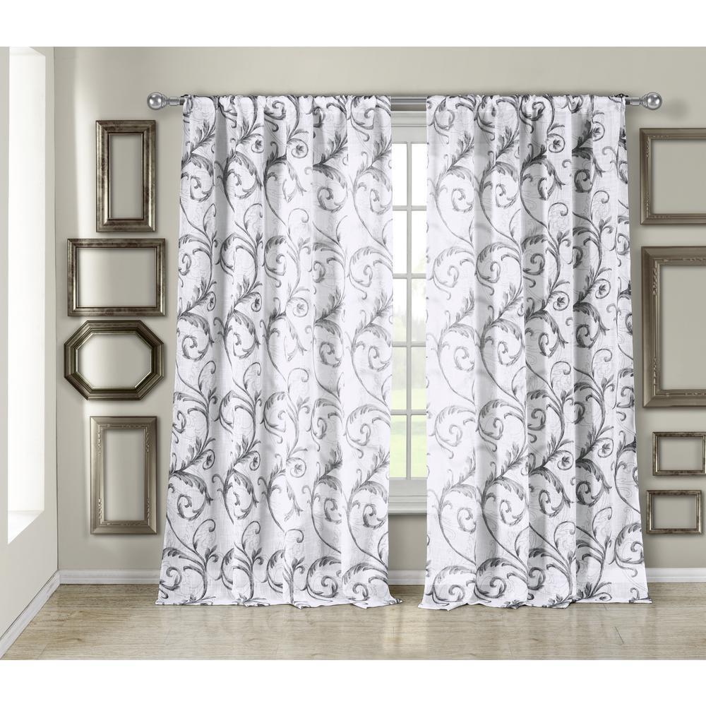 Bria Linen Metallic Silver Look Pole Top Window Pair Panel - 54 in. W x 84 in. L in (2-Piece)