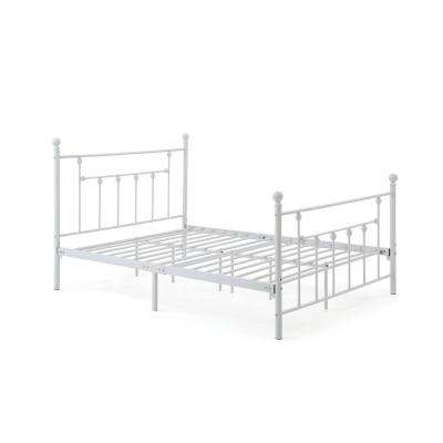 Complete Metal White Queen Bed with Headboard, Footboard, Slats and Rails