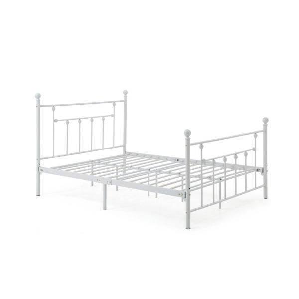 Hodedah Complete Metal White Queen Bed with Headboard, Footboard, Slats and
